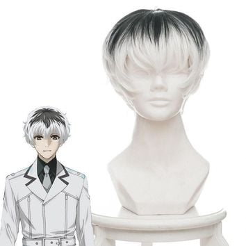 Cool Anime Tokyo Ghoul Haise Sasaki Wigs Finsin Zuozum Short Synthetic Hair Perucas Cosplay WigAT_93_12