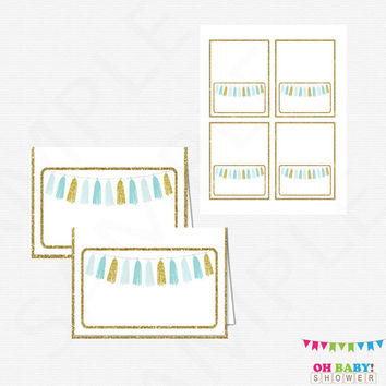 Printable Food Labels, Blue and Gold Baby Shower, Baby Shower Decorations, Tent Cards, Place Cards, Baby Shower Decor, Tassels, TASBG
