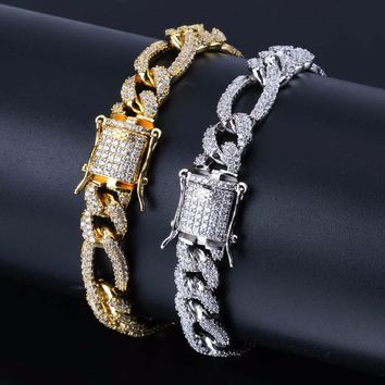 "10mm Box Lock NK Chain Bracelet For Men Hip Hop Bling Iced Out Paved Rhinestones CZ Rapper Bracelets Jewelry Gold Silver 7""8"""