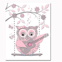 Music nursery poster pink owl playing guitar artwork baby girl room decor wall art for kids playroom decoration shower toddler newborn gift