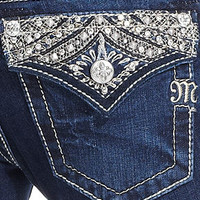 Miss Me Jeans, Skinny Dark-Wash Embroidered Rhinestone