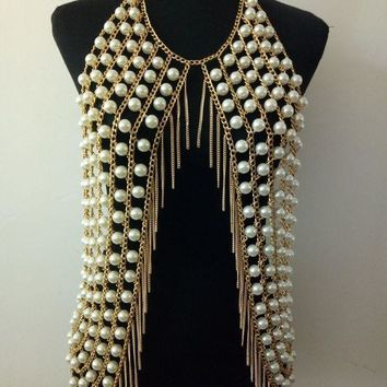 ac PEAPO2Q New Arrival B765 Women Fashion Gold Chains Simulated-pearls Body Chains Jewelry Layers White Simulated-pearls Cloth Body Chains