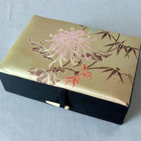 Vintage Chinese Silk Embroidered Jewelry Trinket Box