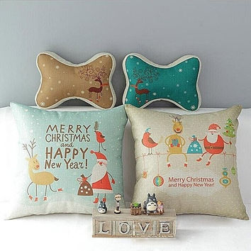 Linen Merry Christmas Santa Deer Throw Pillow Case Sofa Cushion Cover Home Decor AP = 1945885700