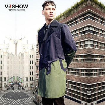 VIISHOW New Arrival Trench Coat Men Fashion clothes Men Brand Windbreaker Mens Overcoat  Outerwear Men's Double Breasted Jackets