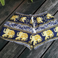 Elephants Printed Shorts Unique Tribal Boho Hobo Beach Hippie For Summer Exotic Elegant Clothing Aztec Ethnic Ikat Boxers Cotton Cute Blue