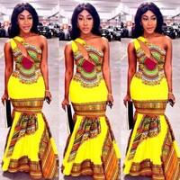 Newest Yellow Dashiki fashion Dress Succunct African tranditional print Dashiki dress for lady H776