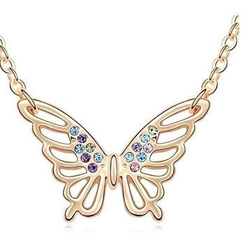 Fashion Crystal Butterfly Pendant Necklace