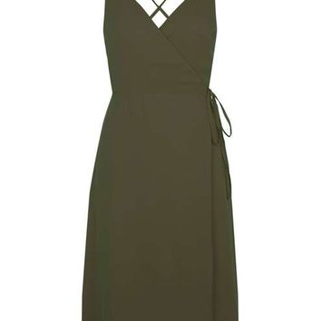 Wrap Slip Midi Dress
