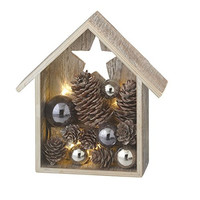 Lighted LED House with Star - Ornaments and Pine Cones - Illuminated Table Christmas Decoration - 7-in
