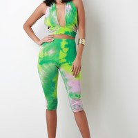 Tie Dye Jersey Knit Halter Crop Top With Capri Leggings Set | UrbanOG