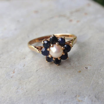 Pearl Blue Sapphire Ring 1980s engagement ladies flower cluster gold September birthstone June birthstone  10% OFF coupon in item detail
