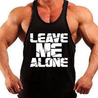 Leave Me Alone, Bodybuilding Tank Top, Men Workout Shirt, Racerback Singlet Y-Back, Muscle Tee, Mens Fitness, Gym Tank Top, Workout Tank