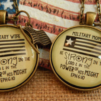Military Wife Military Mom Patriotic Jewelry Scripture Pendant Necklace Makes Encouragement Gift For 4th of July