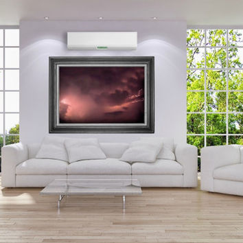 Storm Photography lightning,stormy sky,dramatic clouds,mauve sky,lightning bolts,thunderstorm,thundercloud,glowing,home decor,moody,surreal