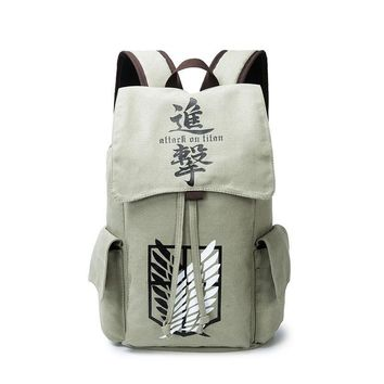 Cool Attack on Titan no  Backpack Anime  Backpack Teenagers Men Women's School Bags Canvas Cartoon mochilas AT_90_11