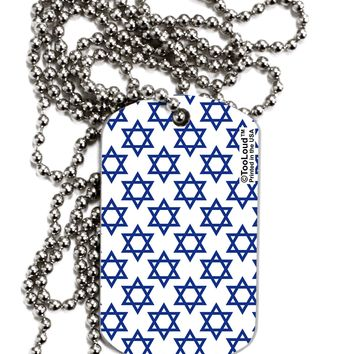Stars of David Jewish Adult Dog Tag Chain Necklace by TooLoud
