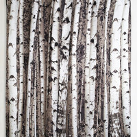 Rustic Beyond the Grove Shower Curtain in Birch by Kikkerland from ModCloth