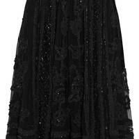Needle & Thread - Ribbon appliquéd embellished tulle skirt