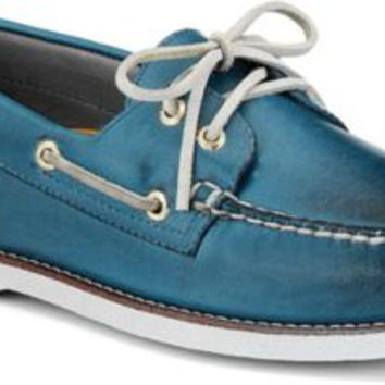Sperry Top-Sider Gold Cup Authentic Original Burnished Leather 2-Eye Boat Shoe BlueBurnishedLeather, Size 8M  Men's Shoes