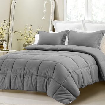 3PC REVERSIBLE SOLID/ EMBOSS STRIPED COMFORTER SET- OVERSIZED AND OVERFILLED ( 2 BEDDING LOOKS IN 1) - GRAY