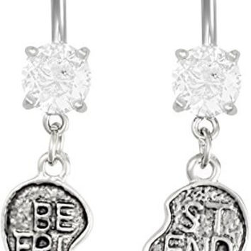 14g Surgical Steel Set of Best Friend Matching Jeweled Heart Belly Button Rings