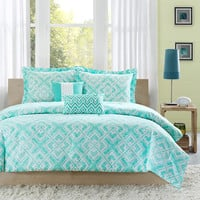 Full / Queen Comforter Set With Geometric Light Teal Squares