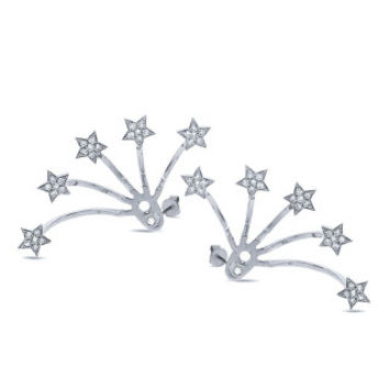 0.27ct 14k White Gold Diamond Star Ear Jacket Earring with Studs