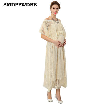 SMDPPWDBB Lace Dress Pregnant Dress Summer Loose Maternity Clothes For Pregnant Women Pregnancy Long Maternity Photography Props