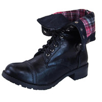 Oralee-S Plaid Cuffed Combat Military Boots
