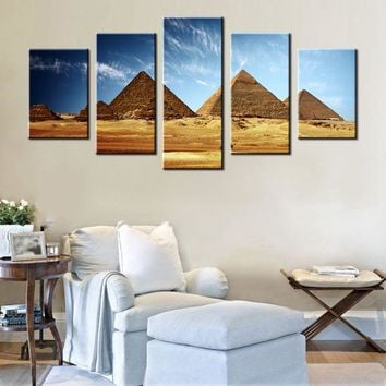Canvas Wall Art: Egyptian Pyramids Canvas Wall Art 5-Panel