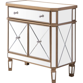 """Contempo 32""""x16""""x32"""" Mirrored Drawer & 2-Door Cabinet, Gold"""
