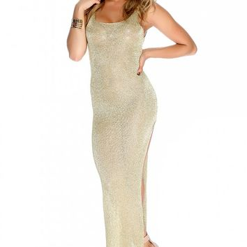 Sexy Gold Shimmer Side Slit Sleeveless Casual Maxi Swimsuit Cover Up Dress