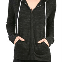 Long Sleeve Slub Jersey French Terry Zip up Hoodie Workout Fitness Jacket