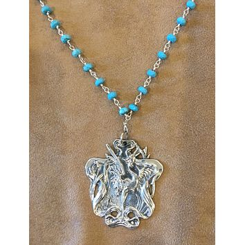 Heron in Cat Tails pendant necklace Beautiful Art Nouveau Reproduction Turquoise Chain