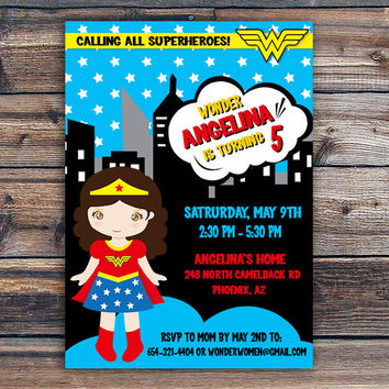Superhero - Wonder Woman Invitation