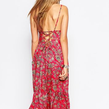 Reclaimed Vintage Cami Dress With Lace Back Detail In Paisley Floral Print at asos.com
