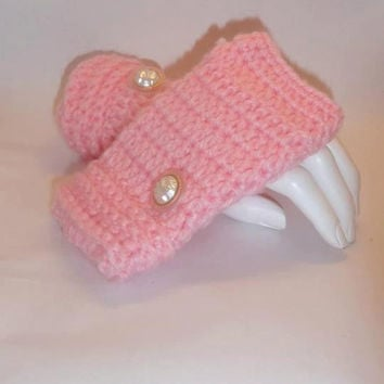 Fingerless Gloves , Pink, Crochet