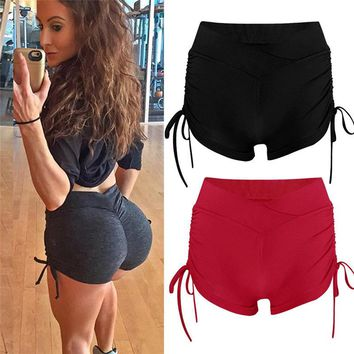 Sports Shorts Women High Waist Yoga Shorts Quick Dry Streetwear Breeches Purple And Red Solid Color Sports Shorts For Fitness