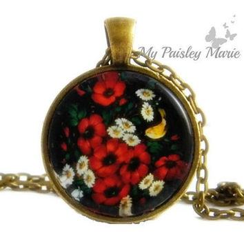 Russian Folk Art Necklace Pendant , Flower Necklace , Glass Art Pendant , Picture Pendant , Photo Pendant