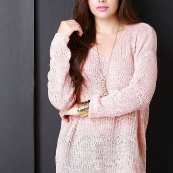 Boxy V Neck Loose Knit Sweater