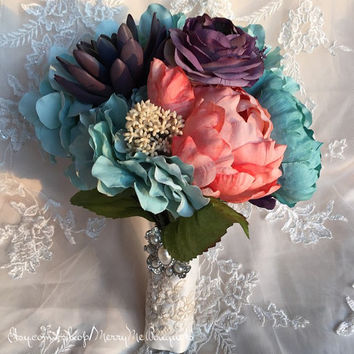 Tiffany blue, coral and lavender, silk flower and succulent bouquet.
