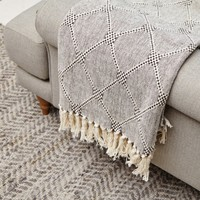 Grey Diamond Throw