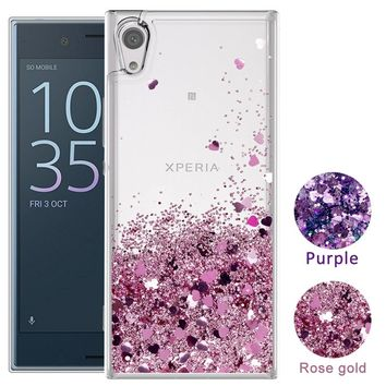 For Sony Phone Case Fashion Cute Glitter Liquid Quicksand Clear Soft TPU Protective Cover