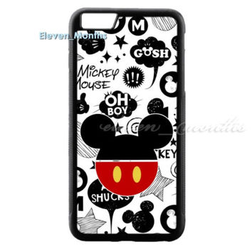 Disney Mickey Mouse Poster Art for iPhone 6 6s 6s+ 7 Hard Plastic Cover Case