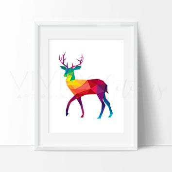 Colorful Geometric Poly Deer