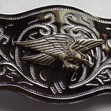 Silver tone Belt Buckle with Brass Tone Eagle