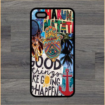 Hakuna Matata Hippie Collage Art Print Cell Phone Case iPhone 4/4s 5/5c 6/6+ Case and Samsung Galaxy S3/S4/S5