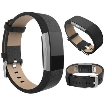 9 Colors Genuine Leather Watch Band For Fitbit Charge 2 Adjustable Smart Bracelet Strap Replace Watchband With Steel Buckle