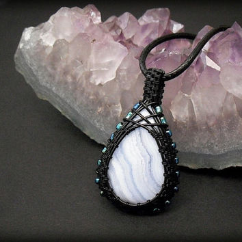 OOAK wire wrapped blue lace Agate necklace, light blue agate pendant, soft blue Chalcedony necklace, black wire wrap, unique women necklace